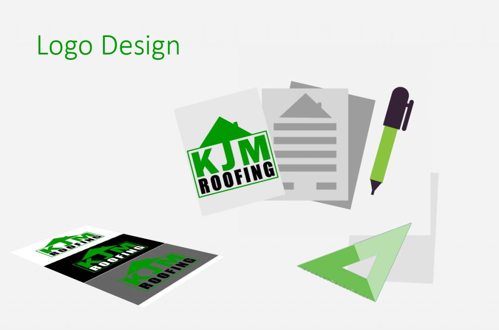 Green Logo design for KJM Roofing
