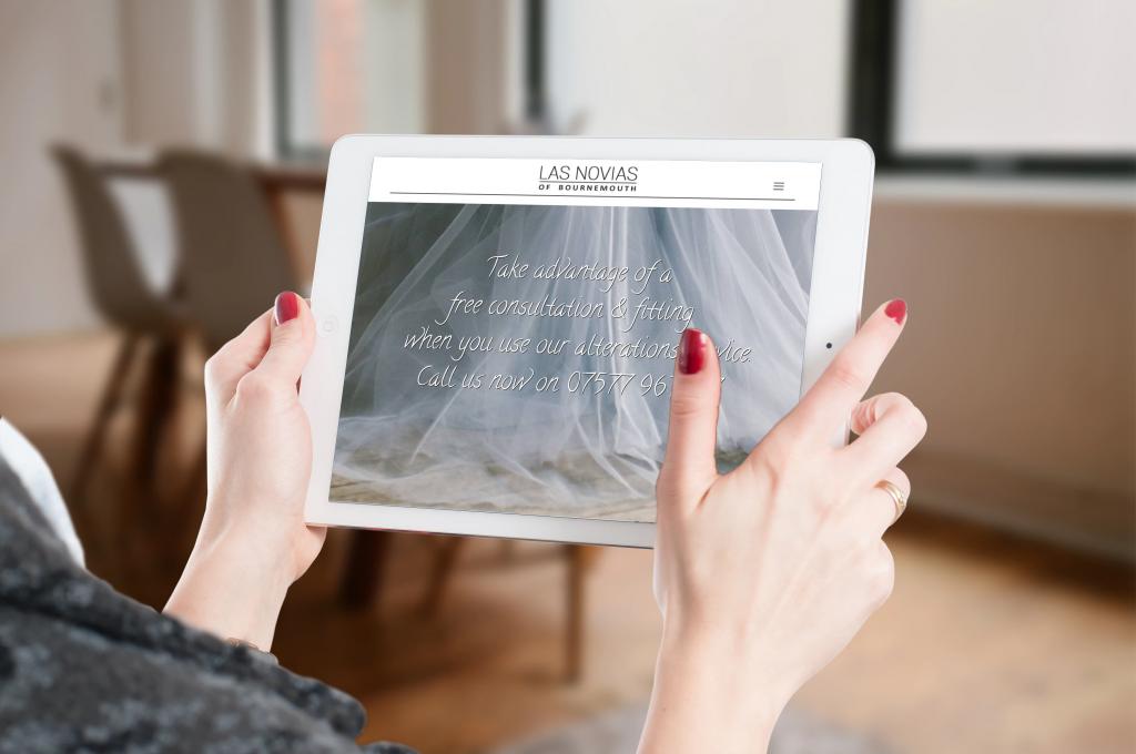 Zanet wedding website designs on a tablet