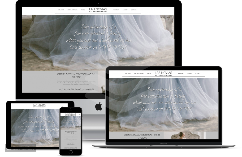 Las novias on mobile laptop and tablet