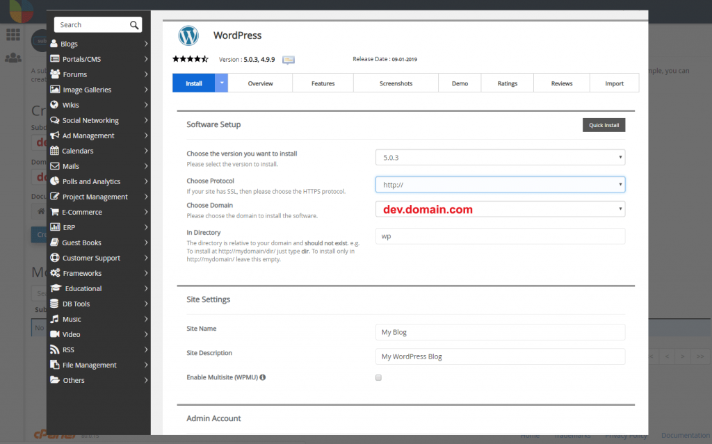 Protocol and directory settings for WordPress site install