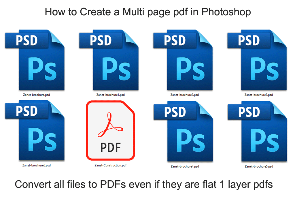 multipage pdf from single layer psd files