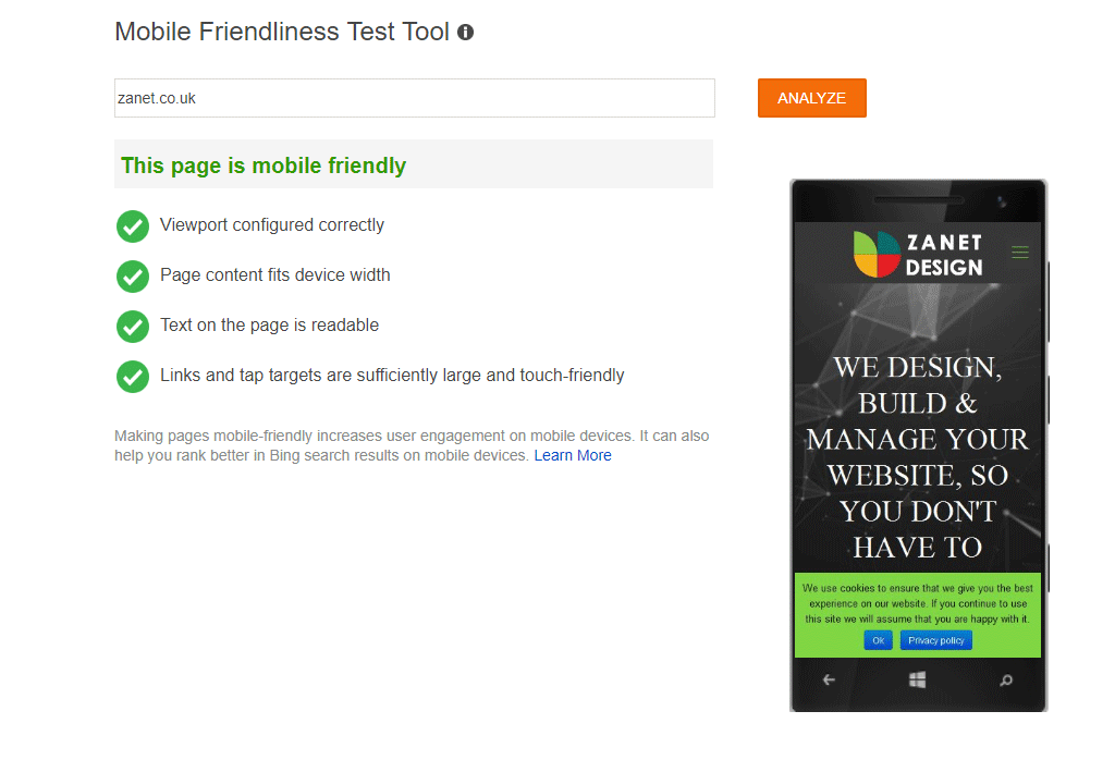 Bing mobile friendly tester tool