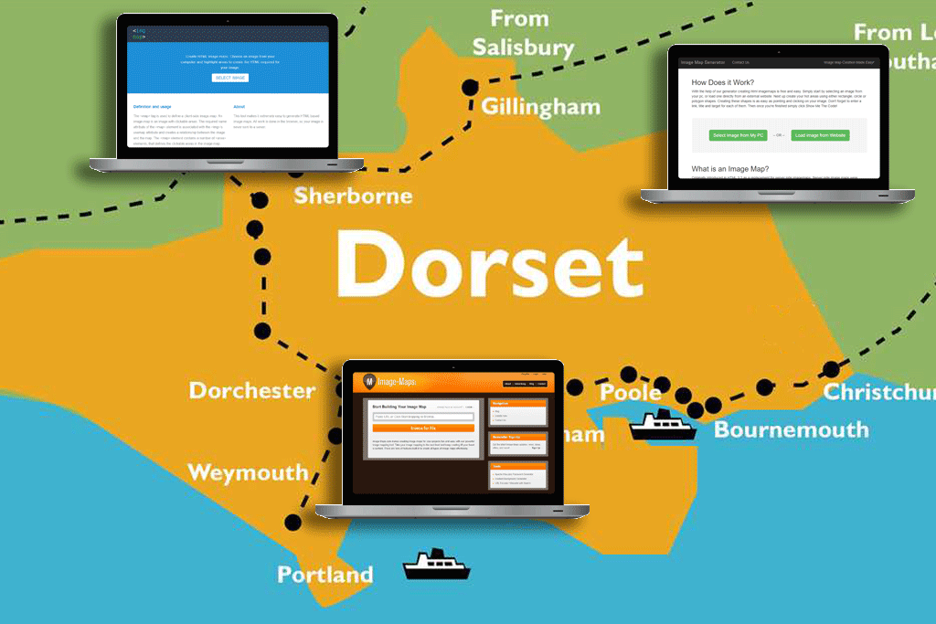 Image map tool comparisons on a map of Dorset