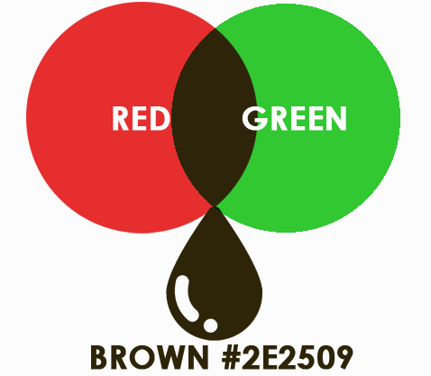 brown from 2 colors red and green