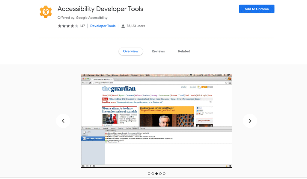 Web accessibility toolbar chrome