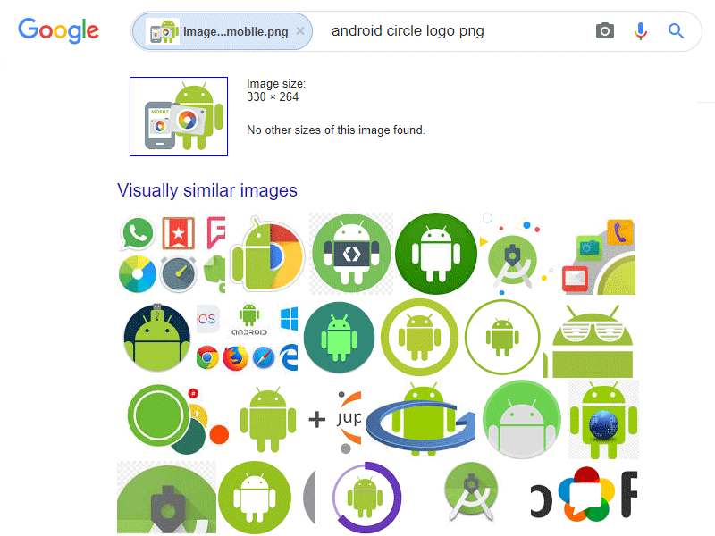 Reverse image search results