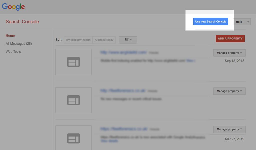 Google search console login button