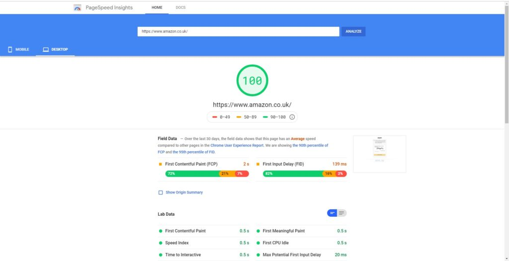 Simple fast loading websites