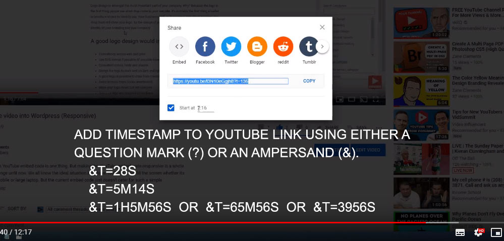 add timestamp to youtube link with embed