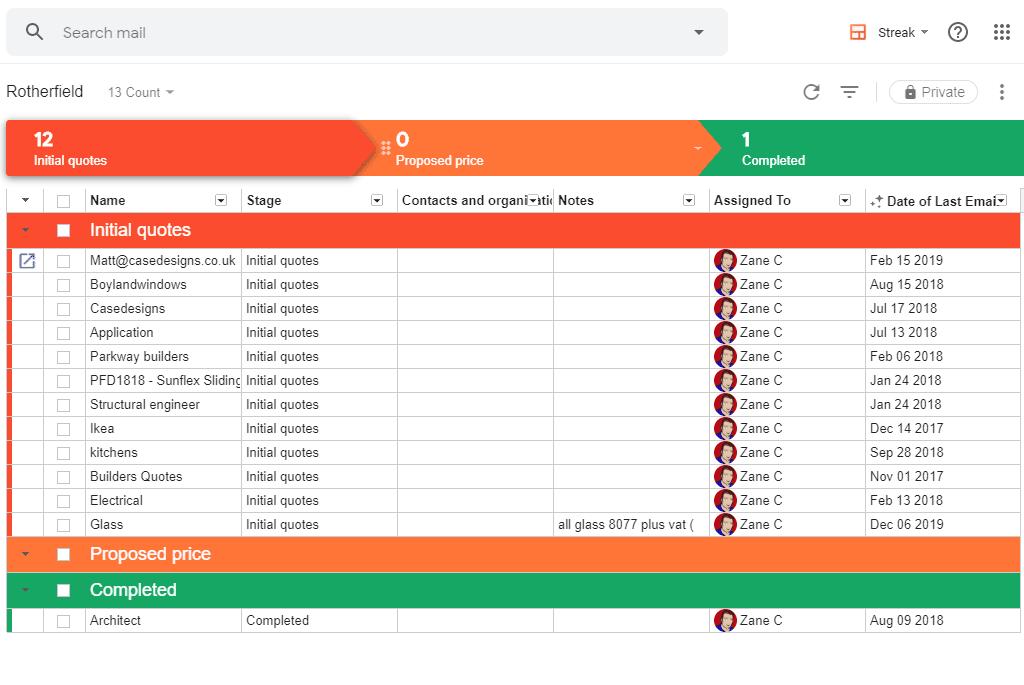 CRM tool called Streak