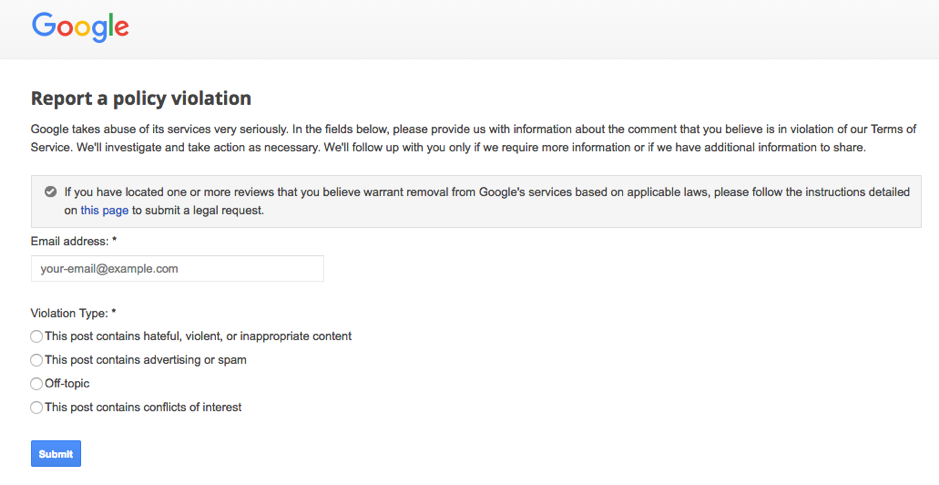 so easy to get a Google My Business error from a reported violation