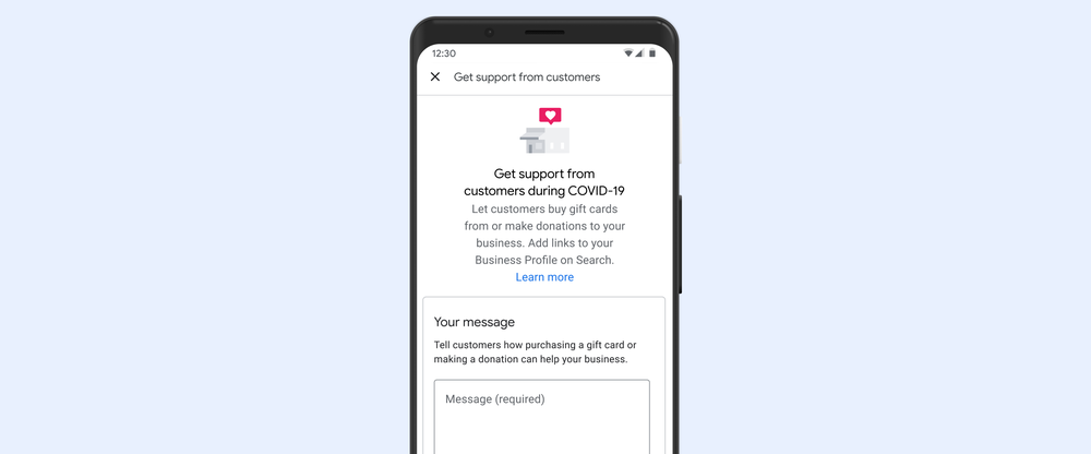 Google My Business support links on a mobile