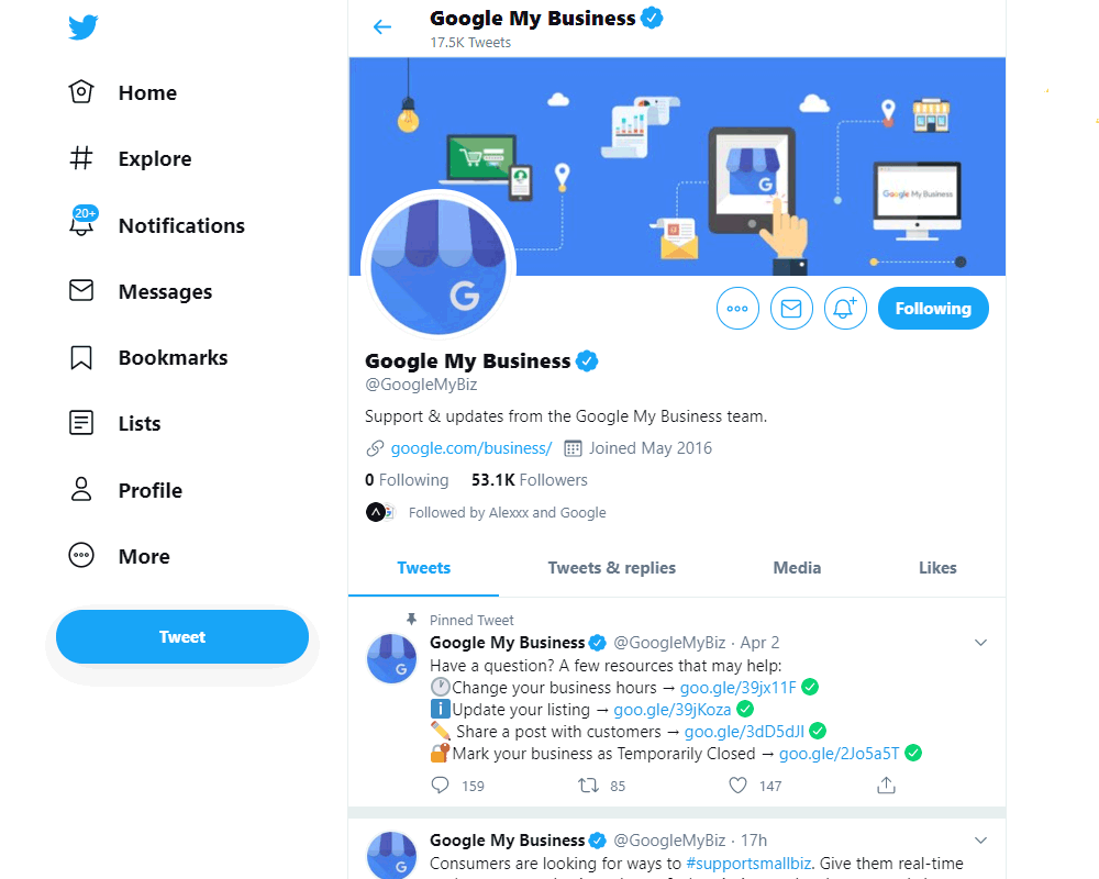 Google My Business Support Via Twitter