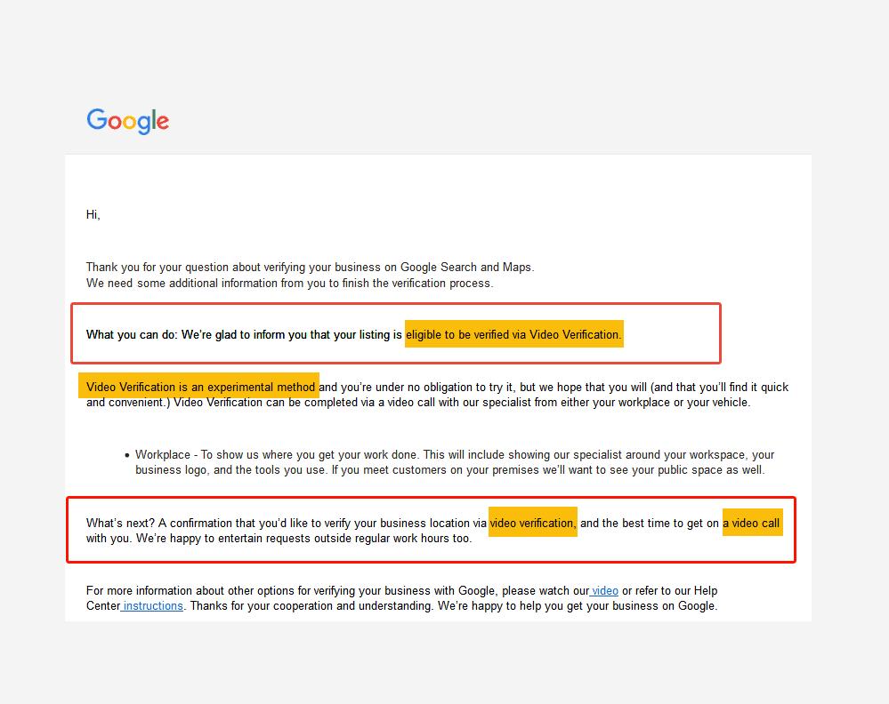 Google My Business Video Verification
