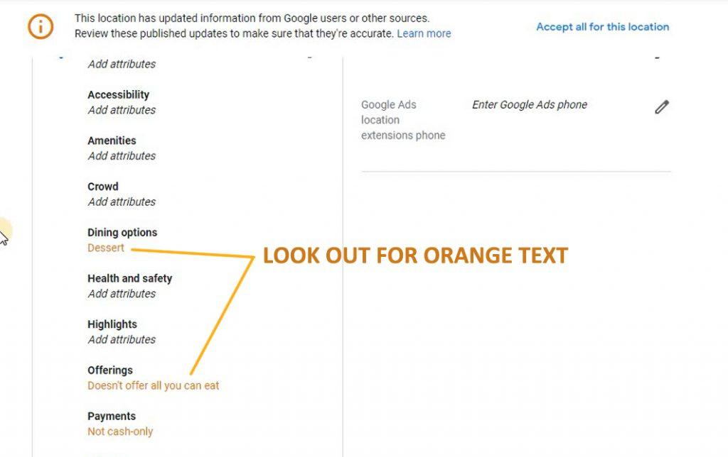 Orange Text in Google My Business