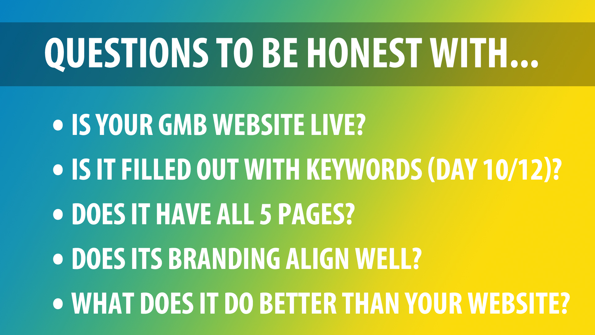 questions on GMB website builder